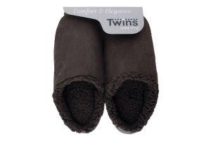 Тапочки-получешки домашние мужские флис/тучки №4813 Twins 42-43 коричневый