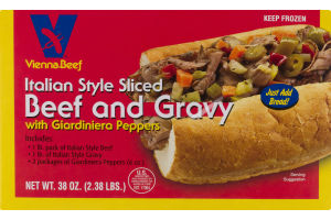 Vienna Beef Italian Style Sliced Beef And Gravy With Giardiniera Peppers