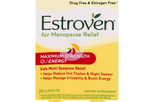 Estroven For Menopause Relief Maximum Strength + Energy Caplets - 28 CT