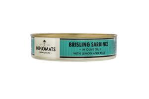 Сардини підкопчені в оливковій олії з лимоном і базиліком Diplomats з/б 160г