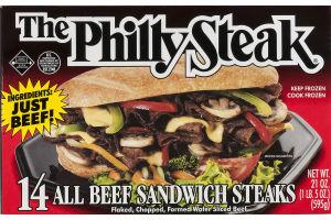 The Philly Steak All Beef Sandwich Steaks - 14 CT
