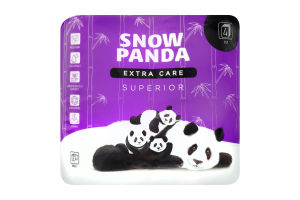 Бумага туалетная 4 слоя Extra care Superior Snow panda 8шт