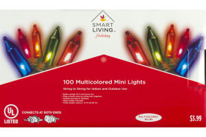 Smart Living Holiday Multicolored Mini Lights - 100 CT