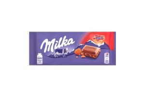 Шоколад молочный с кусочками хрустящей карамели с миндалем Milka м/у 100г