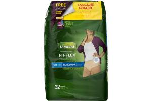 Depend Fit-Flex Underwear For Women Maximum S/M - 32 CT