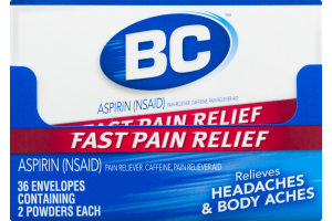 BC Headaches & Body Aches Aspirin Powders - 36 CT