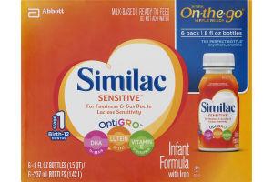 Similac Sensitive On-the-Go Infant Formula with Iron - 6 PK
