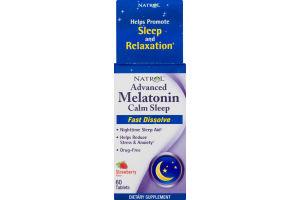 Natrol Advanced Melatonin Calm Sleep Fast Dissolve Dietary Supplement Strawberry Tablets - 60 CT