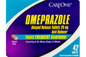 CareOne Omeprazole Delayed Release Heartburn Tablets - 42 CT