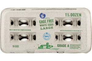 Ahold Cage Free White Eggs Large Grade A - 18 CT