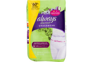 Always Discreet Underwear Maximum Classic Cut S/M - 32 CT