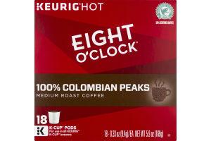 Eight O'Clock Colombian Peaks Medium Roast Coffee K-Cup Pods - 18 CT