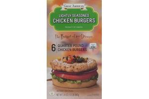 Great American Lightly Seasoned Chicken Burgers Quarter Pound - 6 CT