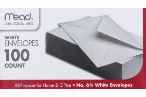 Mead No. 6 3/4 White Envelopes - 100 CT