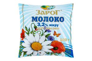 Молоко 3.2% пастеризованное ЗароГ м/у 500г