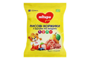 Лепешки для детей от 7мес рисовые с грушей и ягодами Milupa м/у 40г