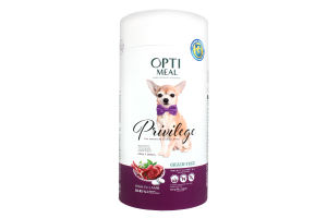 OPTIMEAL Privilege Беззер. сух.корм для собак мініатюрних та малих порід з вис.вмістом ягнятини, 0,65 кг