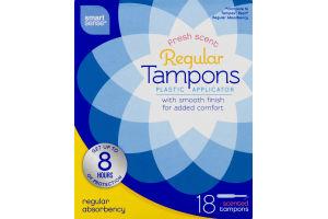 Smart Sense Regular Tampons Plastic Applicator Regular Absorbency Scented - 18 CT