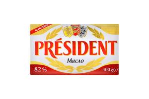 Масло 82% несоленое President м/у 400г