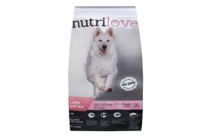 Корм сухий для дорослих собак з чутливим травленням з ягням і рисом Nutrilove м/у 3кг