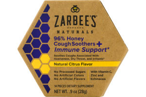 Zarbee's Naturals 96% Honey Cough Soothers + Immune Support - 14 CT