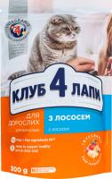 Корм сухой для взрослых кошек С лососем Premium Клуб 4 лапи м/у 300г