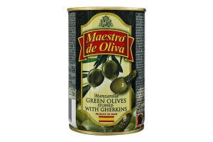 Оливки на огірочках Maestro de Oliva з/б 300г