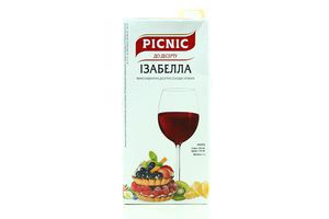 Вино 1л 10-13% красное сухое Изабелла Picnic