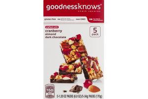 goodnessknows Snack Squares Cranberry Almond Dark Chocolate - 5 PK