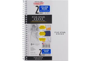 Mead Five Star 2 Subject College Ruled Notebook - 100 Sheets