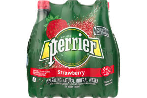 Perrier Sparkling Natural Mineral Water Strawberry - 6 PK