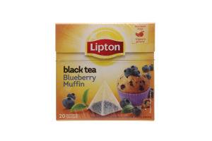 Чай Lipton Blueberry Muffin черный в пакетиках с ягодами пирамидка 20шт*1,6г