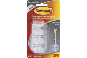 Command Cord Organization Flat Cord Clips Clear - 4 CT