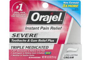 Orajel Instant Pain Relief Cream Severe
