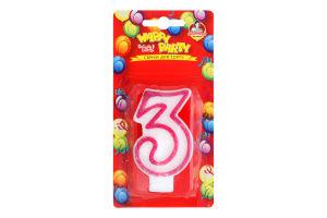 Свічка-цифра для торту глазурована №P52-618/3 Happy Party Помічниця 1шт