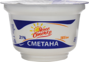 Сметана Ясне Сонечко 185г 21% стакан
