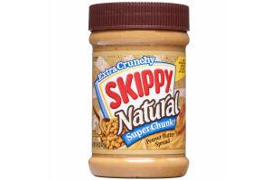 Skippy Natural Super Chunk Peanut Butter Spread, 15 Ounce