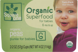 Square One Organic Superfood for Babies Organic Peas Puree - 2 PK