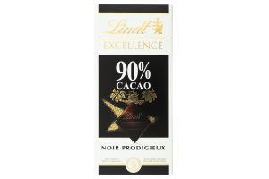 Шоколад 90% екстра чорний Excellence Lindt к/у 100г