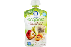 Gerber Organic Baby Food Apples, Pears & Apricots with Mixed Grains