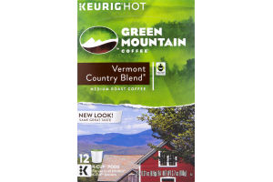 Green Mountain Medium Roast Coffee K-Cup Pods Vermont Country Blend - 12 CT