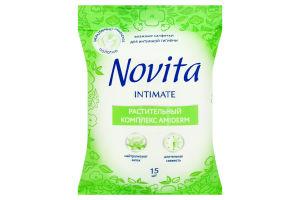 NOVITA Волога серветка Intimate Soft комплекс Amiderm з єврослотом 15шт,