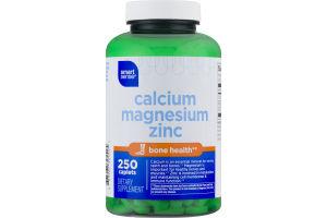 Smart Sense Calcium Magnesium Zinc Dietary Supplement Caplets - 250 CT