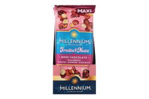 Шоколад білий з мигдалем лісовими горіхами ягодами та родзинками Fruits&Nuts Rose Millennium м/у 140г