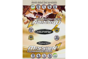 MuscleTech Mission 1 Clean Protein Bar Chocolate Chip Cookie Dough - 12 CT