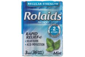 Rolaids Regular Strength Antacid Rolls Mint - 3 CT