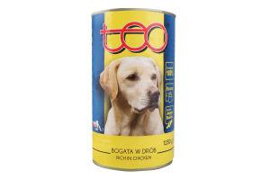Teo Повноцінний консервованний корм з мясом птиці для дорослих собак 1250г з/б