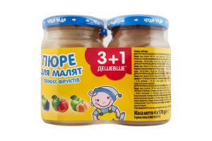 Набор пюре для детей от 4мес без сахара 3+1 Из свежих фруктов Чудо-чадо 1шт