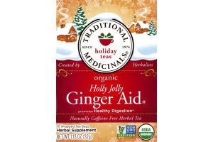 Traditional Medicinals Holiday Tea Bags Organic Holly Jolly Ginger Aid - 16 CT
