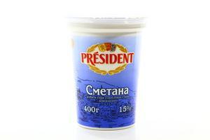 Сметана 15% President ст 400г